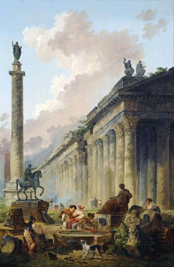 Hubert_Robert_-Rome_with_Equestrian_Statue_of_Marcus_Aurelius,_the_Column_of_Trajan_and_a_Temple